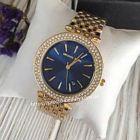 Женские часы Michael Kors (Майкл Корс) МК золото с синим циферблатом корпус с камнями календарь(дата)