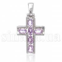 Декоративный серебряный крест с аметистом 30990