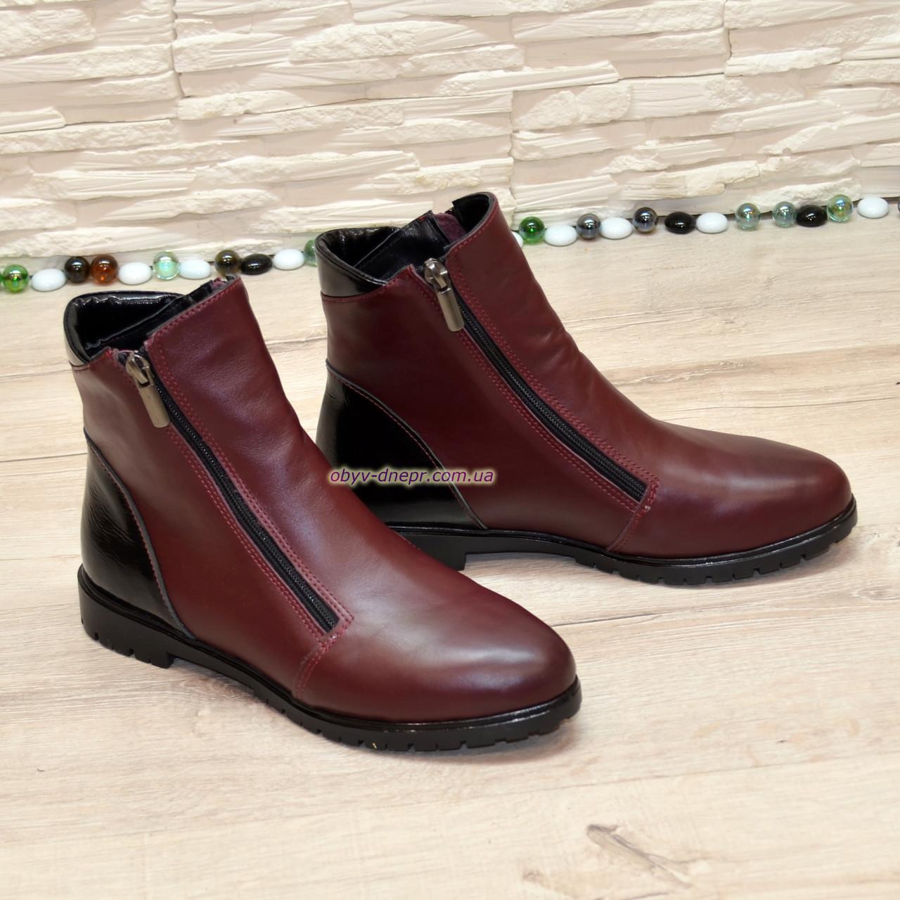 Ботинки комбинированные зимние на низком ходу, цвет бордо/черный