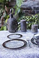 Тарелка одноразовая стеклопластик 190 мм 6 шт прозрачные с серебром. Capital For People., фото 1