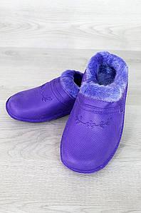 Галоши женские на меху без задника дефект помятость 0898 фиолетовые
