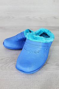 Галоши женские на меху без задника дефект помятость 0909 голубые