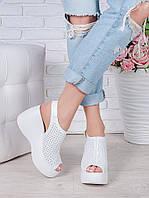 Босоножки кожаные белые Амели 7058-28, фото 1