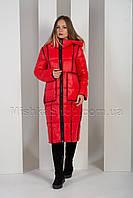 Двусторонний длинный пуховик цвет чёрный+красный Towmy 2261
