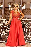 Красное длинное женское вечернее платье больших размеров 48-54