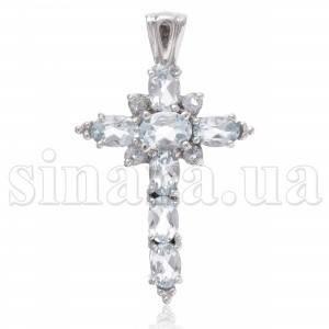 Декоративный серебряный крест с голубым топазом 28946