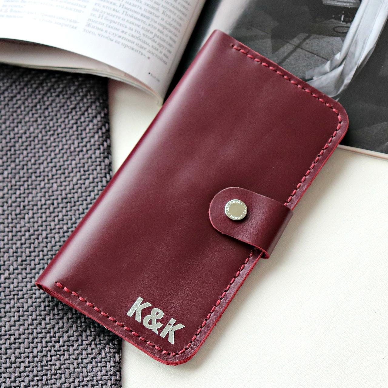 Стильный кошелек из натуральной кожи Individual от K&K! Ручная работа! + Подарок! Бордовый