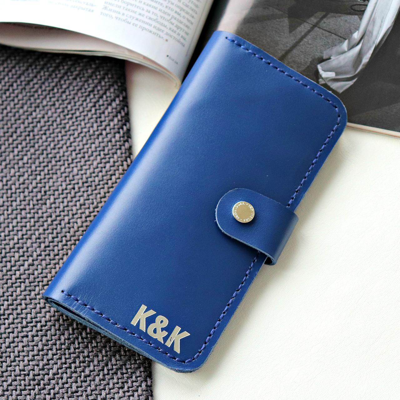 Стильный кошелек из натуральной кожи Individual от K&K! Ручная работа! + Подарок! Синий