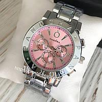 Женские часы Pandora (Пандора) серебро циферблат розового цвете с камнями три циферблата