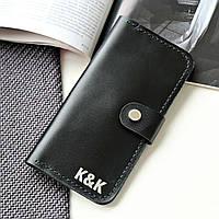 Стильный кошелек из натуральной кожи Individual от K&K! Ручная работа! + Подарок! Черный