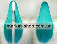 Парик бирюзовый 100см без челки ( волосы искусственные) Купить парик недорого Украина!