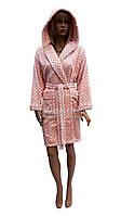 Короткий плюшевый халат с капюшоном в горошек (очень теплый) Stass Moda SM-1233