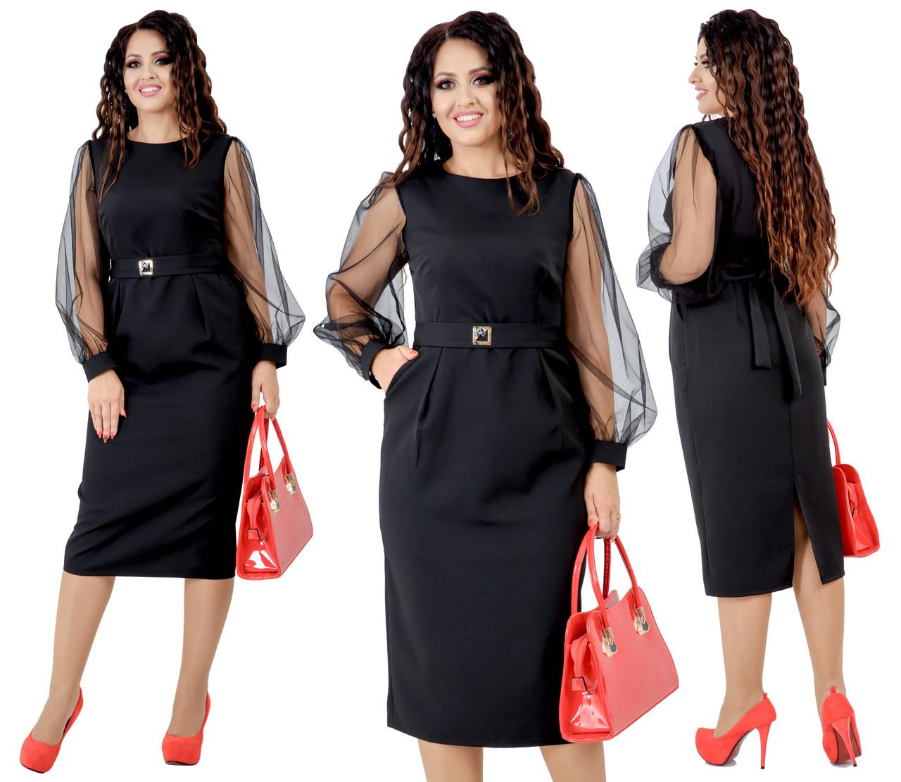 Черное платье больших размеров от 48 до 54 отделка сетка, есть карманы  арт 211-92