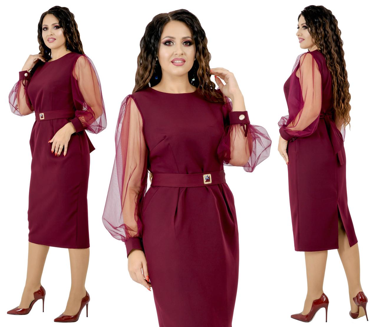 Платье цвет марсала, больших размеров от 48 до 54 отделка сетка, есть карманы  арт 213-92