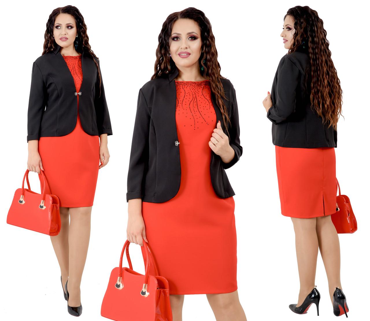 """Классический костюм  """"Ballot"""" больших размеров от 48 до 54  черный с красным, декор стразы 214-92"""
