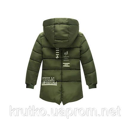 Куртка удлиненная демисезонная для девочки Лондон, темно-зеленый Berni, фото 2