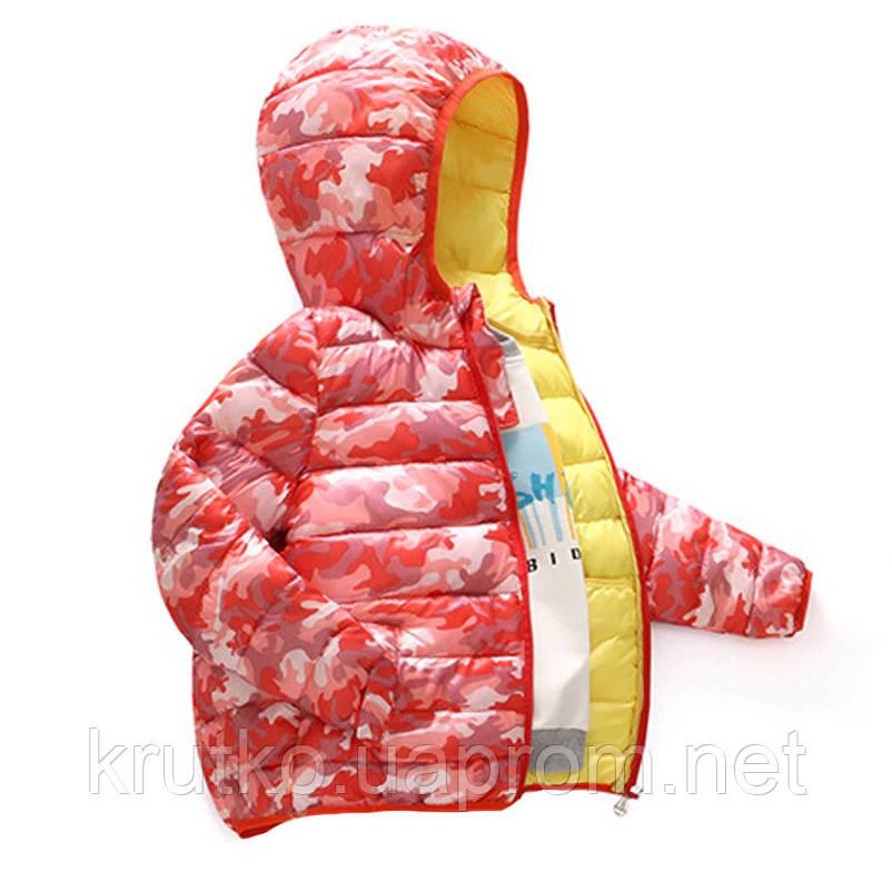 Куртка демисезонная для девочки Камуфляж, красный Berni