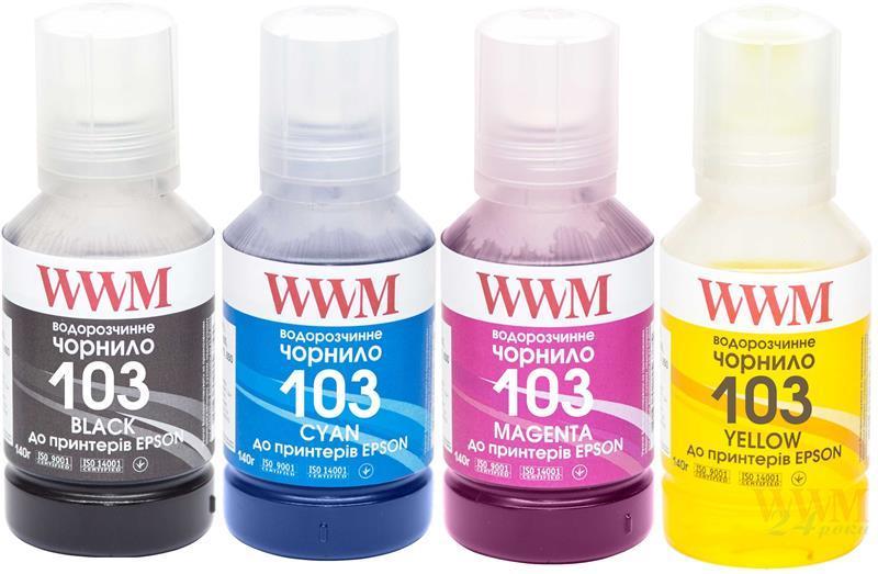Комплект чернил WWM для Epson L3100/3110/3150 4х140г B/C/M/Y (E103SET4)