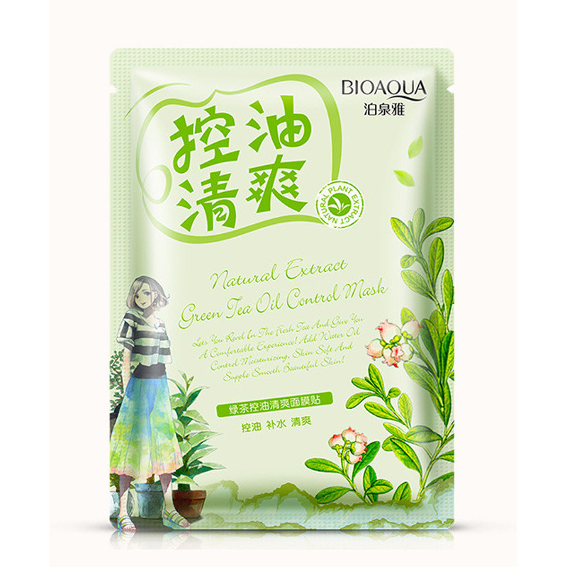 Освежающая маска с экстрактом зеленого чая Bioaqua Natural Extract Green Tea Oil Control Mask (30г)