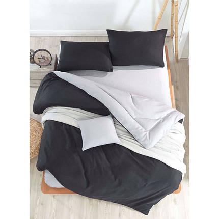 Постельное белье поплин DeLux Микс двусторонний Черный+ Серый ТМ Moonlight Евро макси, фото 2