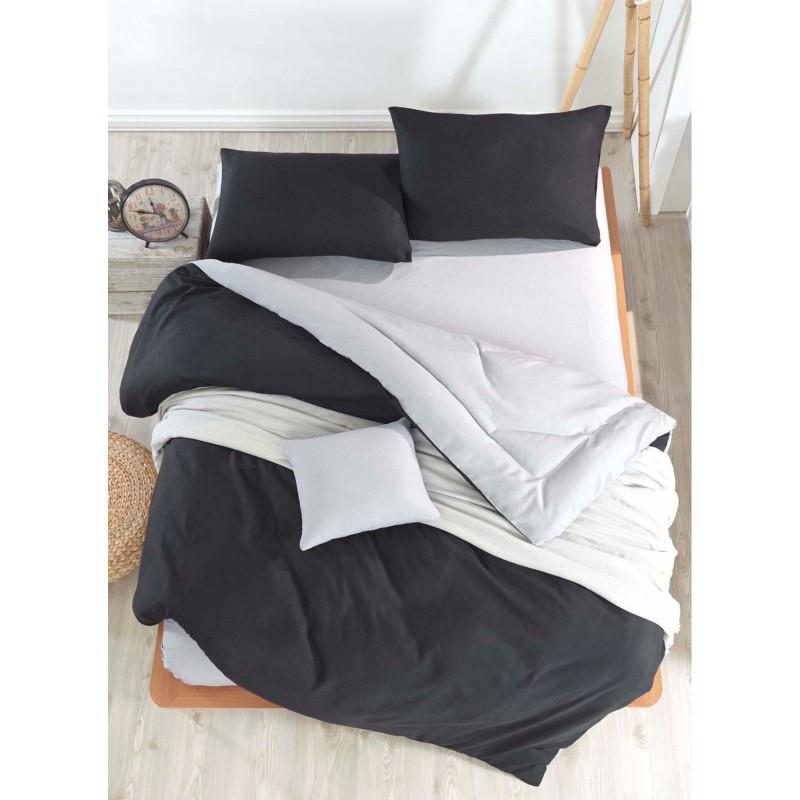 Постельное белье поплин DeLux Микс двусторонний Черный+ Серый ТМ Moonlight Европолуторный 160х215