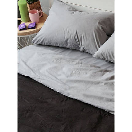 Постельное белье поплин DeLux Микс двусторонний Черный+ Серый ТМ Moonlight Полуторный, фото 2