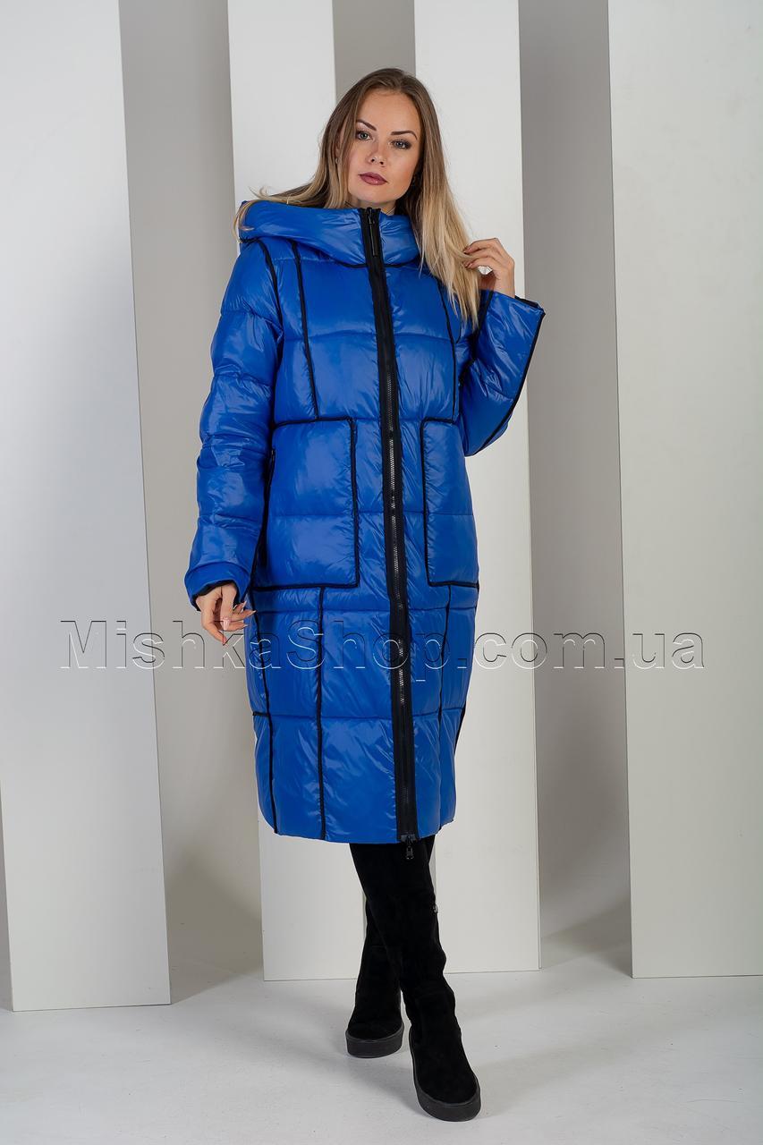 Двусторонний длинный пуховик цвет чёрный+синий Towmy 2261