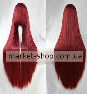 Парик бардовый 100см с челкой ( волосы искусственные) Купить парик недорого Украина!