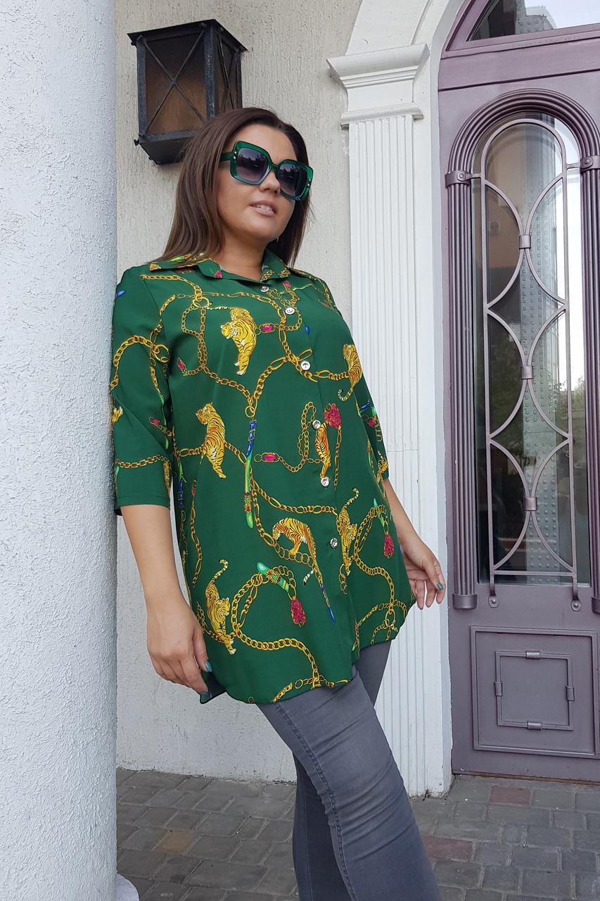 Брендовий блуза-туніка Тигри 0176