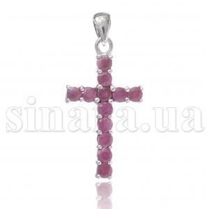Серебряный крест с рубином