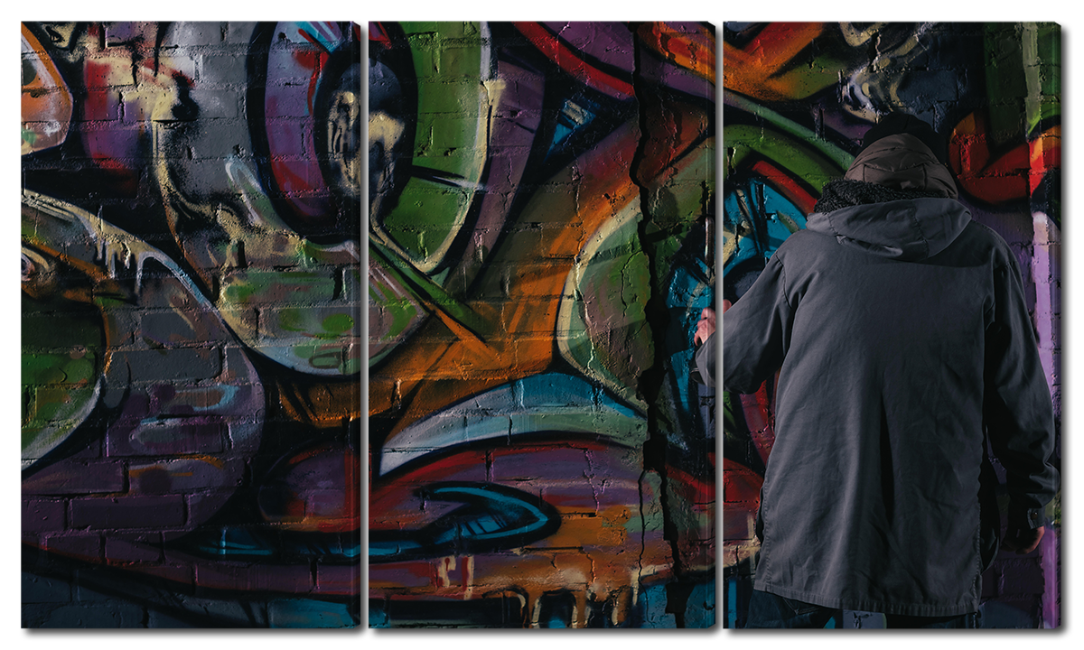 Модульная картина Interno Эко кожа  Граффити  84х47см (A1694S)