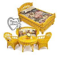 Меблі для ляльки плетені 5 предметів - ліжко, стіл, диван, 2 крісла. Під замовлення. Ручна робота.