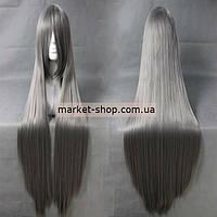 Парик темно-серый 100см с челкой ( волосы искусственные) Купить парик недорого Украина!