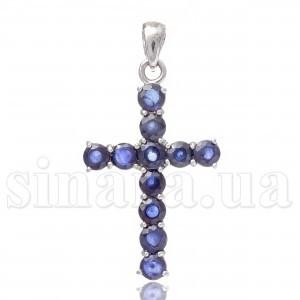 Декоративный серебряный крест с сапфиром 28288