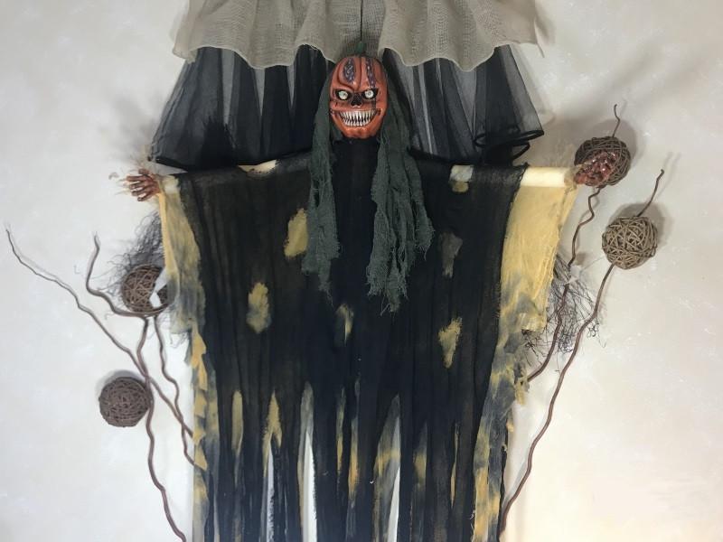 Кукла мумия тыква оранжевая 1,70 м светятся глаза
