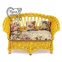 Мебель для куклы плетеная - диван. Под заказ. Ручная работа.