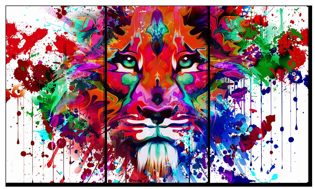 Модульная картина Interno Эко кожа Лев красками 104х58см (A1696M)