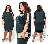 Платье-миди цельнокроенное с круглым вырезом и ассиметричным подолом, на руках разрезы и вставки, 4 цвета, фото 2
