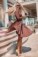 Осеннее платье миди с пышной юбкой