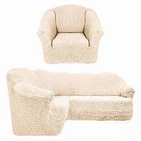 Натяжной чехол на угловой диван с креслом, Турция, без оборки