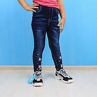 Синие джинсовые лосины для девочки на резинке Seagull  размер 98,104