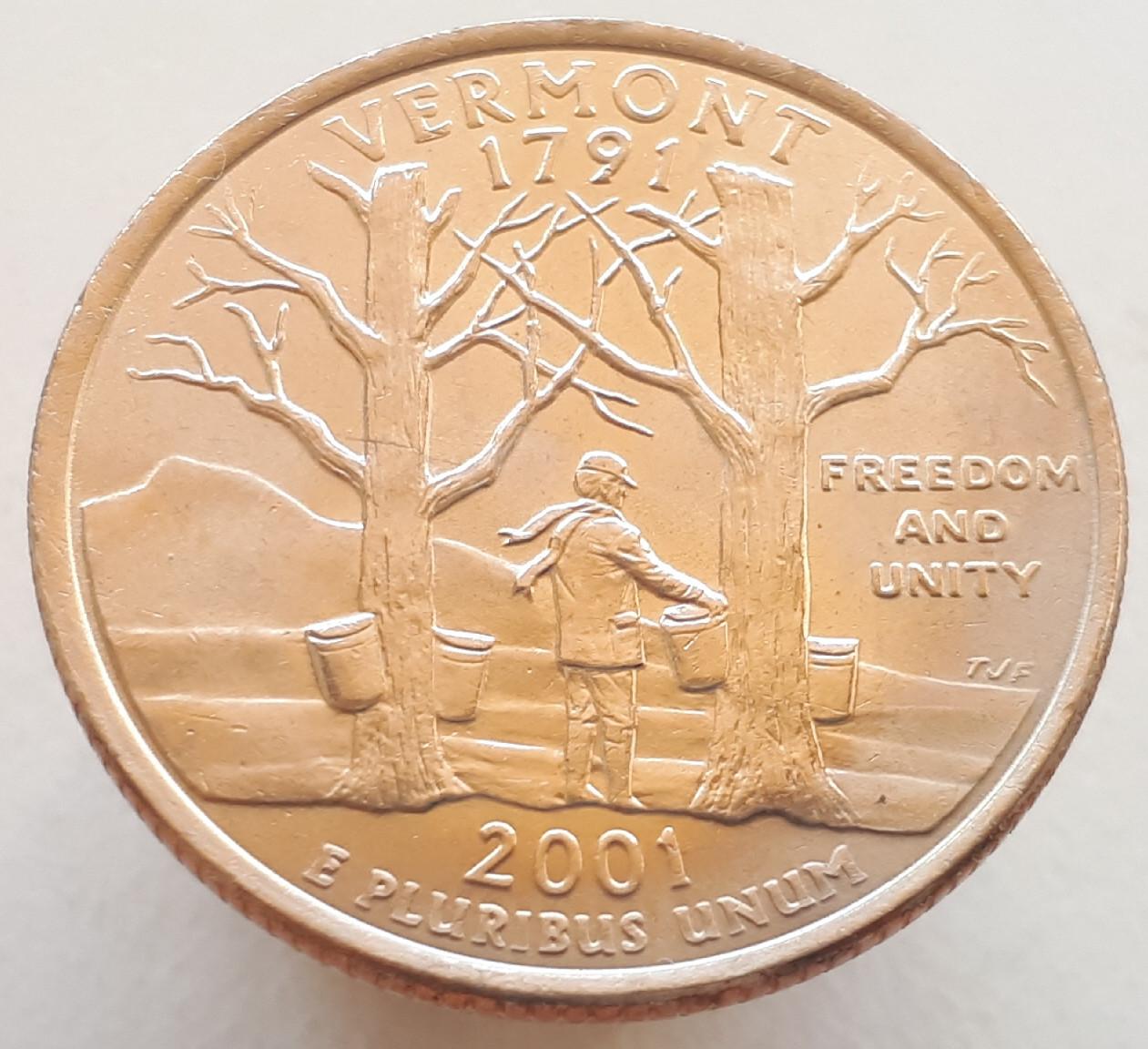 США 25 центов 2001 Вермонт D