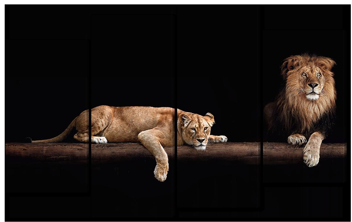 Модульная картина Interno Эко кожа Львы на бревне  166x120см (A1703XXL)