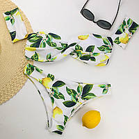 Купальник женский раздельный бандо с лимонами, размер M