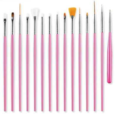 Набор кистей для маникюра, дизайна ногтей (розовый) 15 шт