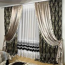 Готовые шторы декорированные бахромой №396