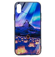 Чехол-накладка TPU+Glass Night series для IPhone X / Xs (Northern Lights), фото 1