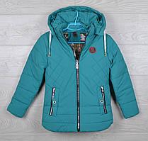 """Куртка подростковая демисезонная """"Fendi реплика"""" для девочек. 7-12 лет (122-152 см). Бирюзовая. Оптом"""