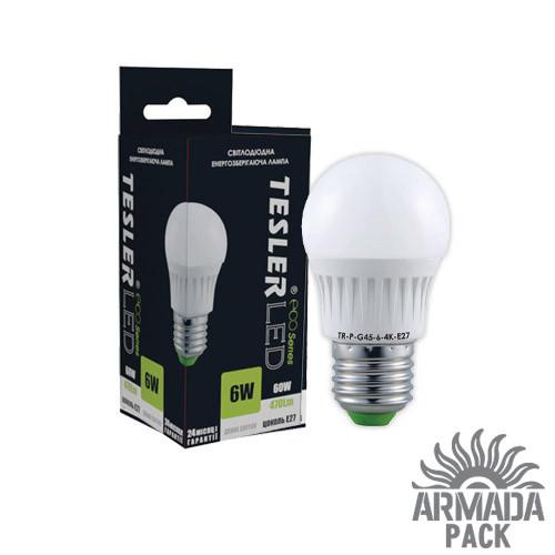 Светодиодная лампа TESLER 6W цоколь Е27 470 LM