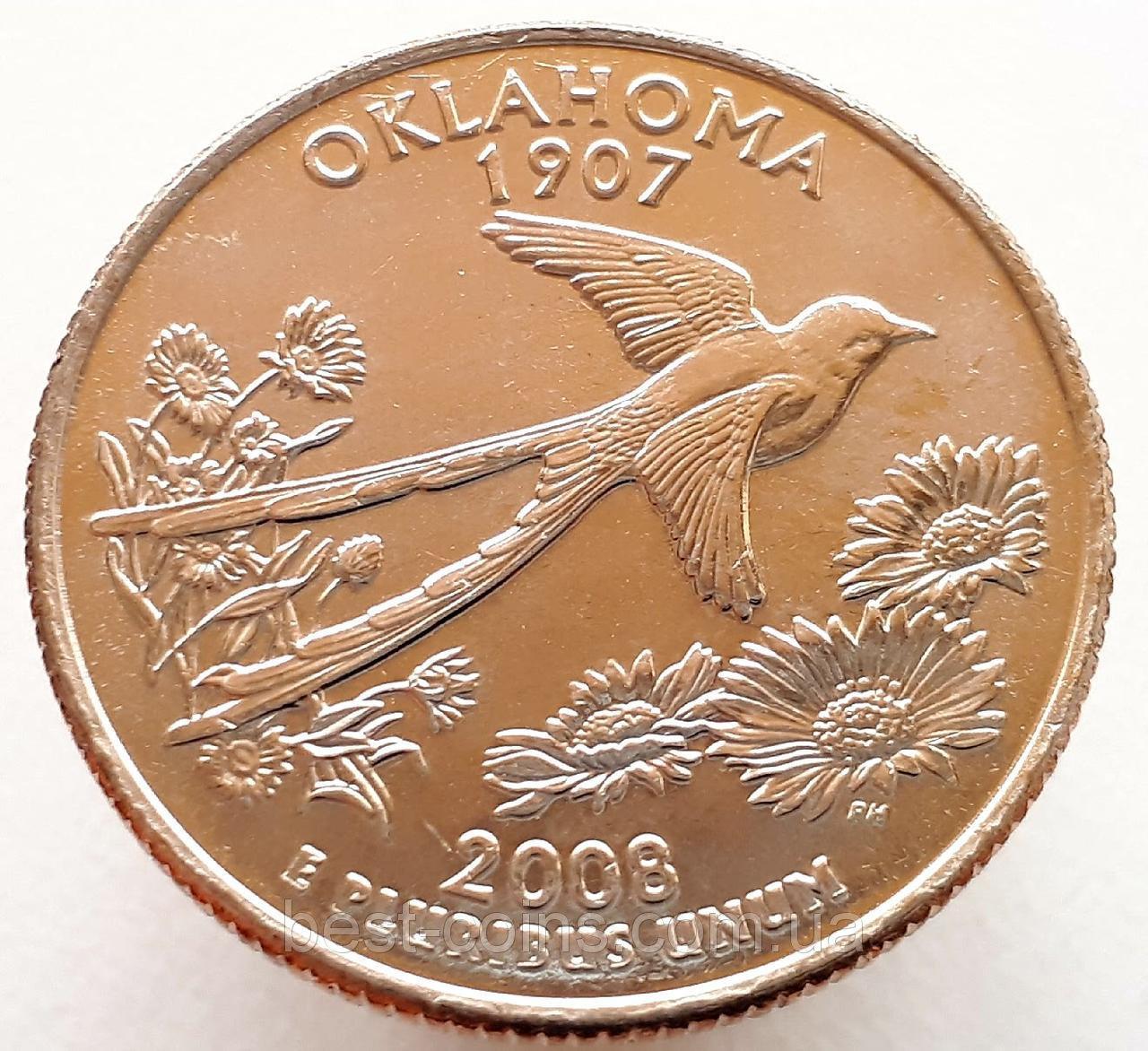 США 25 центов 2008 Оклахома Р
